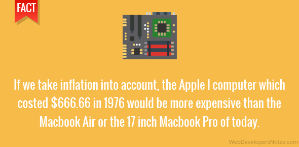 If we take inflation into account, the Apple I computer which costed $666.66 in 1976 would be more expensive than the Macbook Air or the 17″ Macbook Pro of today.