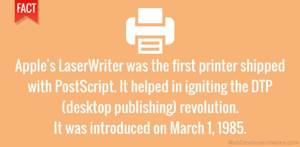 Apple's LaserWriter sparked the DTP revolution