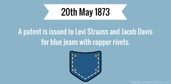 A patent is issued to Levi Strauss and Jacob Davis for blue jeans with copper rivets.
