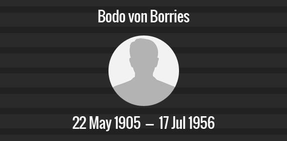Bodo von Borries Death Anniversary- 17 July 1956