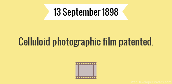 Celluloid photographic film patented