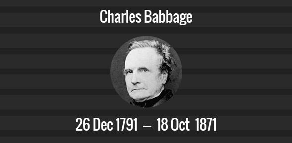 Charles Babbage Death Anniversary - 18 October 1871