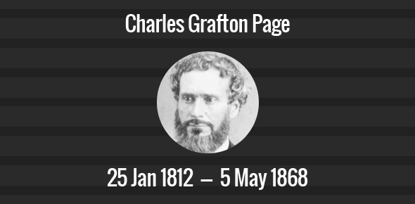 Charles Grafton Page Death Anniversary - 5 May 1868