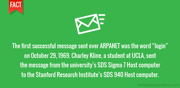 "The first successful message sent over ARPANET was the word ""login"" on October 29, 1969. Charley Kline, a student at UCLA, sent the message from the university's SDS Sigma 7 Host computer to the Stanford Research Institute's SDS 940 Host computer."