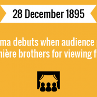 Cinema debuts when audience pays Lumière brothers for viewing film.