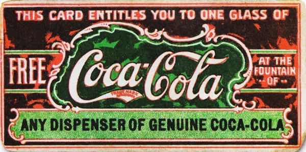 Coca-Cola coupon from the 19th century