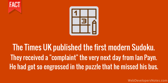 The Times received a complaint after publishing the first Sudoku puzzle
