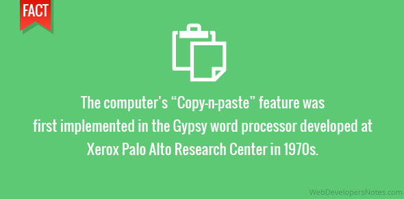 """The computer's """"Copy-n-paste"""" feature was first implemented in the Gypsy word processor developed at Xerox Palo Alto Research Center in 1970s."""