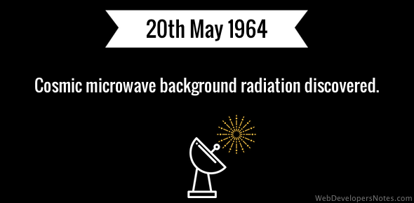 Cosmic microwave background radiation discovered