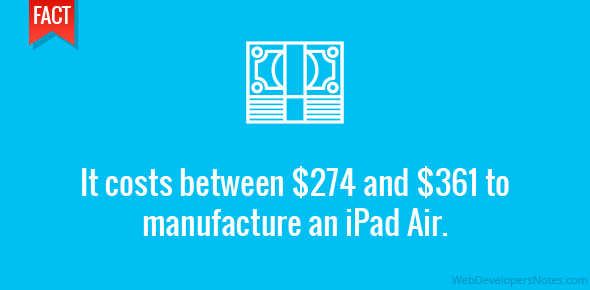 It costs between $274 and $361 to manufacture an iPad Air.