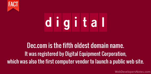 Fifth oldest domain name - DEC.com