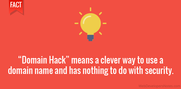 """Domain Hack"" means a clever way to use a domain name and has nothing to do with security."