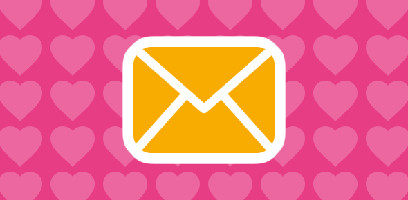 Email icon and heart symbols