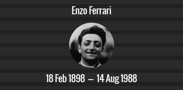 Enzo Ferrari Death Anniversary - 14 August 1988