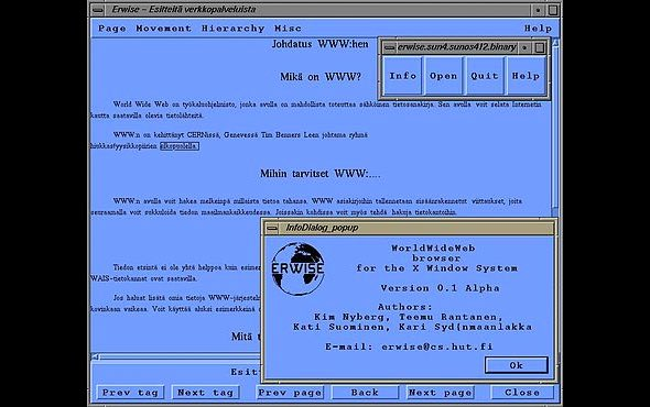 Erwise web browser interface