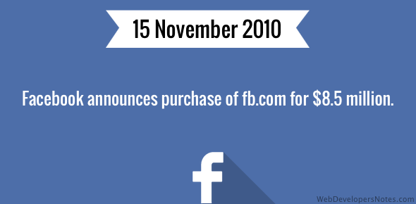 Facebook announces purchase of fb.com for $8.5 million