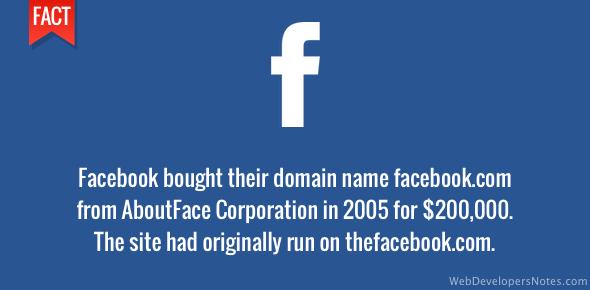 Facebook.com bought for $200,000