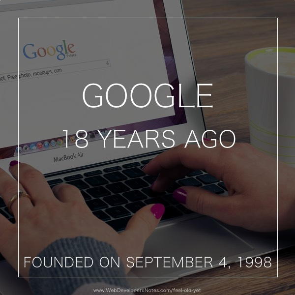 Feel Old Yet? Google founded date