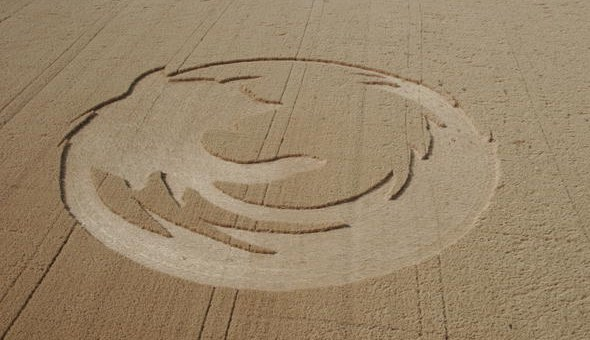 Firefox web browser crop circle created in 2006 at an oat field near Amity, Oregon