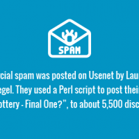 """The first commercial spam was posted on Usenet by Laurence Canter and Martha Siegel. They used a Perl script to post their message, """"Green Card Lottery – Final One?"""", to about 5,500 discussion groups."""