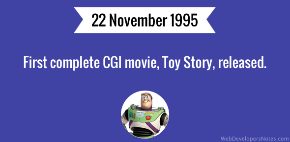 First complete CGI movie, Toy Story, released