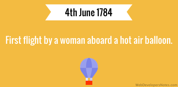 First flight by a woman on a hot air balloon.