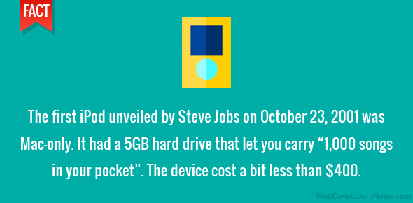 "The first iPod unveiled by Steve Jobs on October 23, 2001 was Mac-only. It had a 5GB hard drive that let you carry ""1,000 songs in your pocket"". The device cost a bit less than $400."