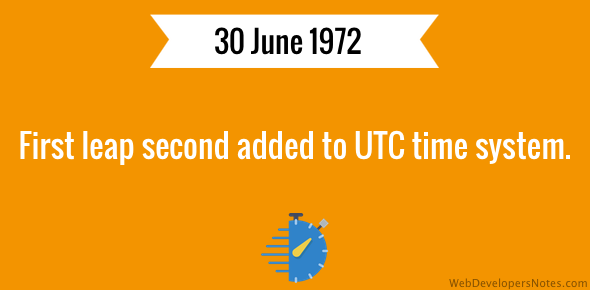 First leap second added to UTC time system on 30 June 1972.