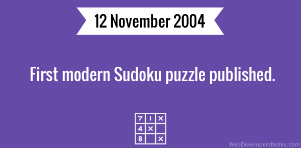 First modern Sudoku puzzle published by The Times