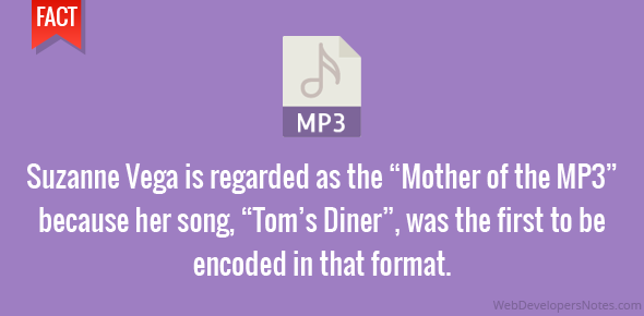 """Suzanne Vega is regarded as the """"Mother of the MP3"""" because her song, """"Tom's Diner"""", was the first to be encoded in that format."""