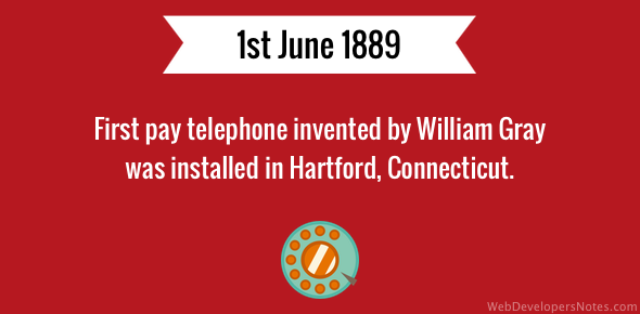 First pay telephone invented by William Gray was installed in Hartford, Connecticut.