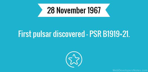First pulsar discovered - PSR B1919+21.