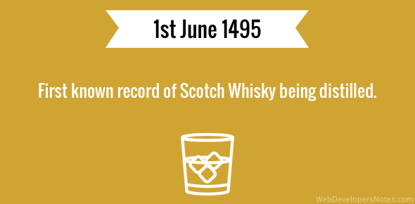 First known record of Scotch Whisky being distilled.