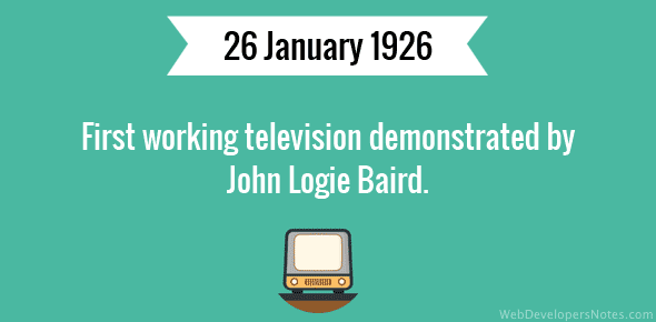 First working television demonstrated by John Logie Baird.