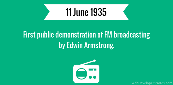 First public demonstration of FM broadcasting by Edwin Armstrong.