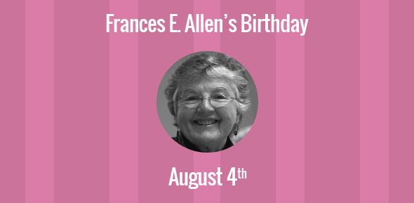 Frances E. Allen Birthday - 4 August 1932
