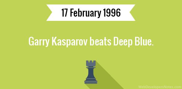 Garry Kasparov beats Deep Blue.