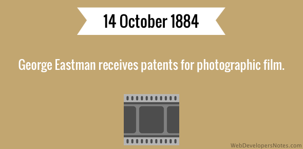 George Eastman receives patents for photographic film