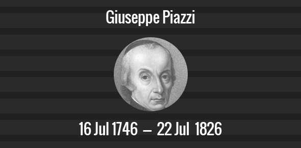 Giuseppe Piazzi Death Anniversary - 22 July 1826