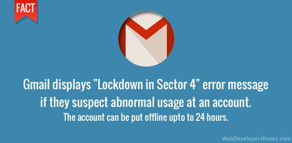 Gmail error message - Lockdown in sector 4