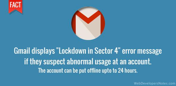 Gmail error message - Lockdown in sector 4