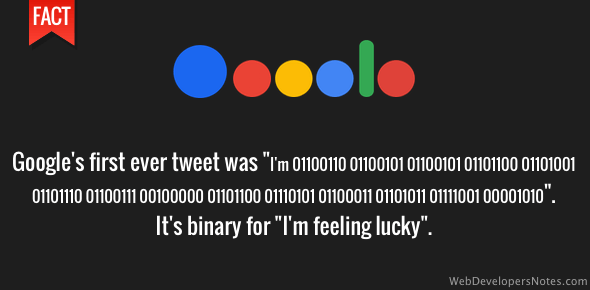 Google's first tweet - I'm feeling lucky in binary