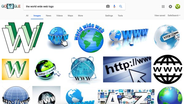 Google Image search for the World Wide Web logo