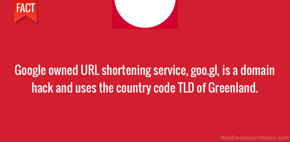 Google's URL shortener uses Greenland's country code TLD