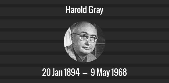 Harold Gray Death Anniversary - 9 May 1968