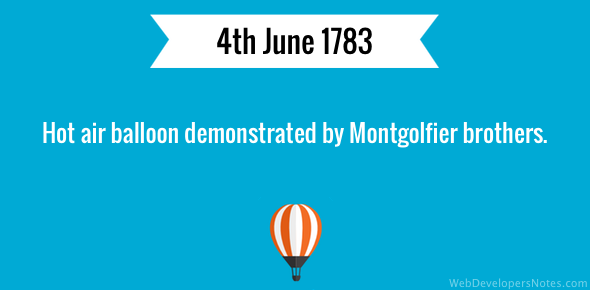 Hot air balloon demonstrated by Montgolfier brothers.