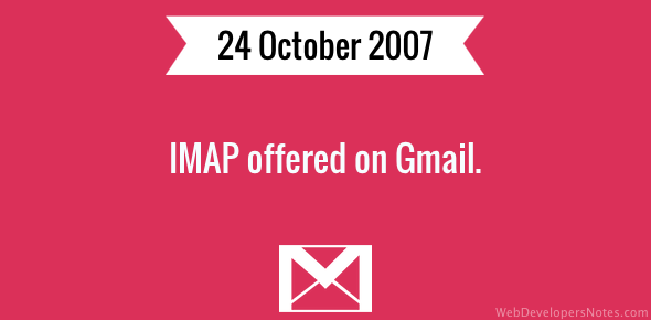 IMAP offered on Gmail