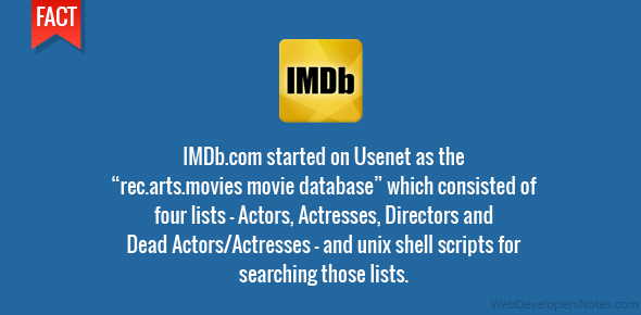 """IMDb.com started on Usenet as the """"rec.arts.movies movie database"""" which consisted of four lists – Actors, Actresses, Directors and Dead Actors/Actresses – and unix shell scripts for searching those lists."""