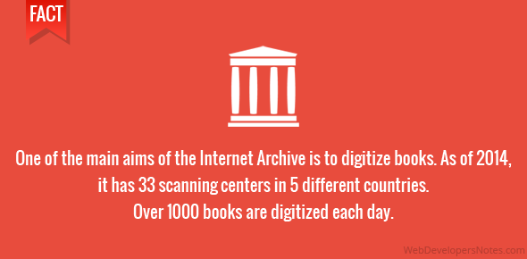One of the main aims of the Internet Archive is to digitize books. As of 2014, it has 33 scanning centers in 5 different countries. Over 1000 books are digitized each day.