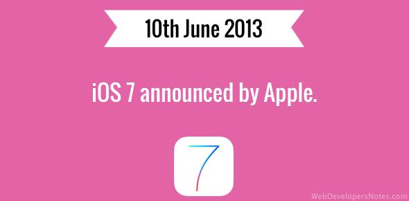iOS 7 announced by Apple.